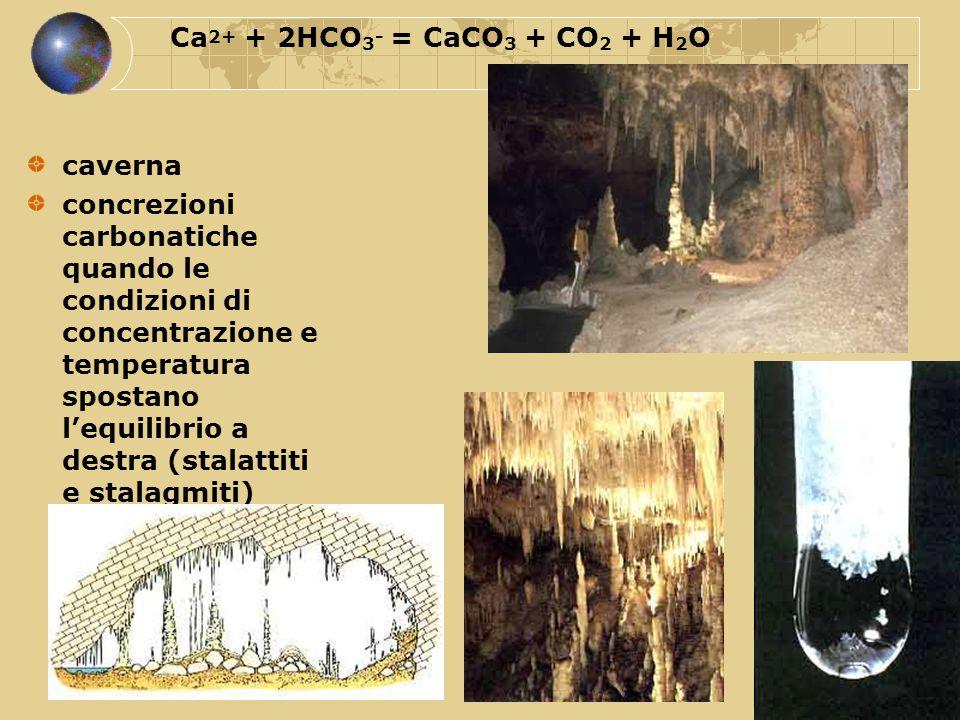 Ca2+ + 2HCO3- = CaCO3 + CO2 + H2O caverna.