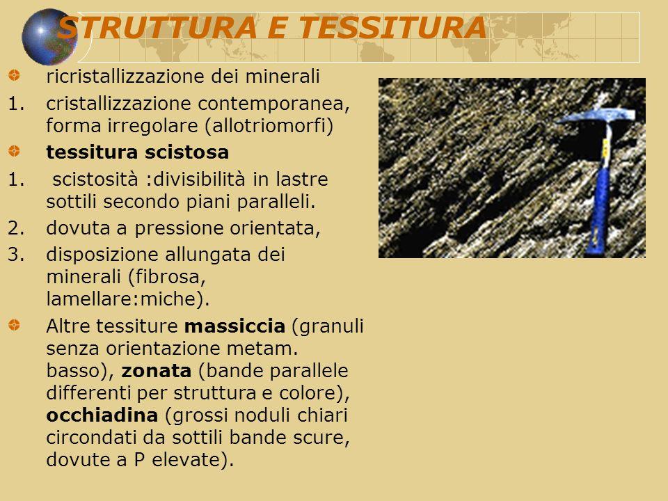 STRUTTURA E TESSITURA ricristallizzazione dei minerali