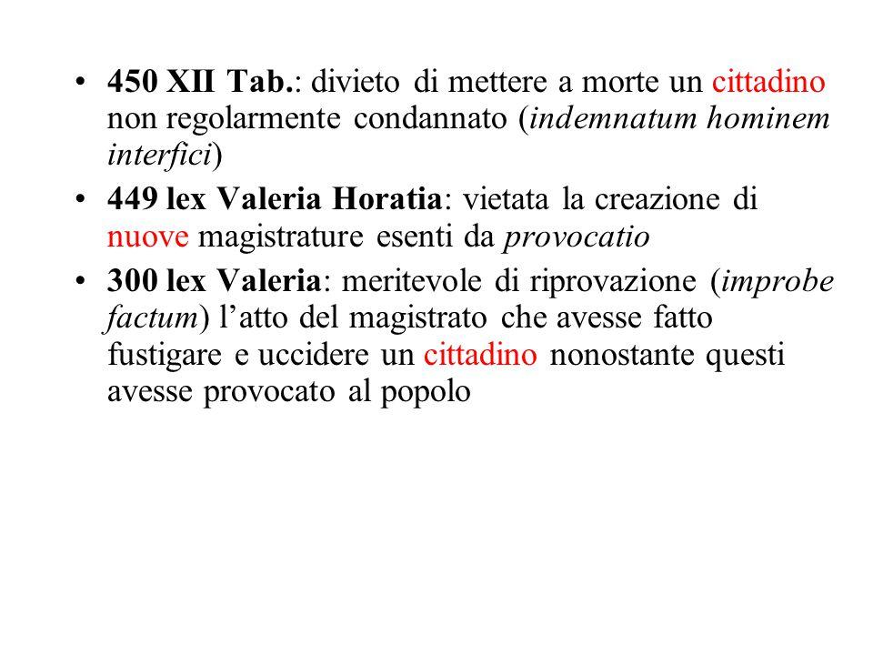 450 XII Tab.: divieto di mettere a morte un cittadino non regolarmente condannato (indemnatum hominem interfici)