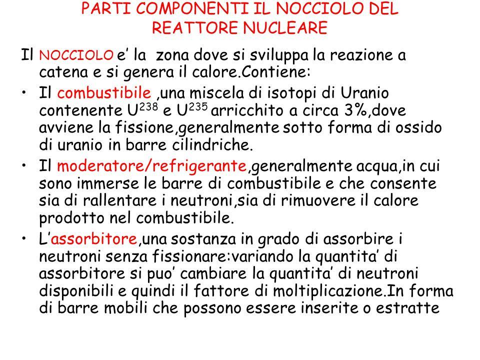 PARTI COMPONENTI IL NOCCIOLO DEL REATTORE NUCLEARE