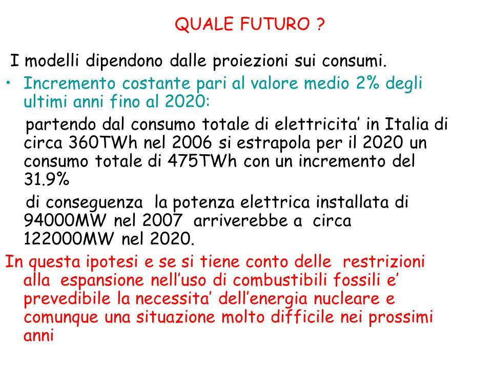 QUALE FUTURO I modelli dipendono dalle proiezioni sui consumi.