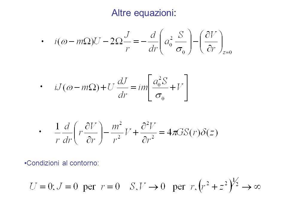 Altre equazioni: Condizioni al contorno:
