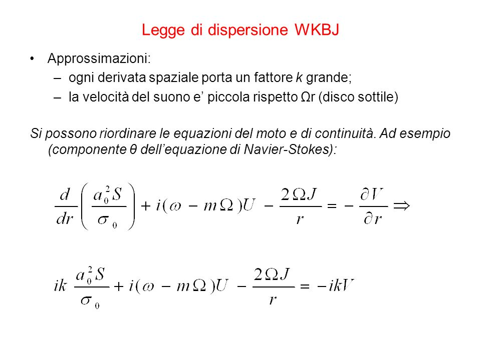 Legge di dispersione WKBJ