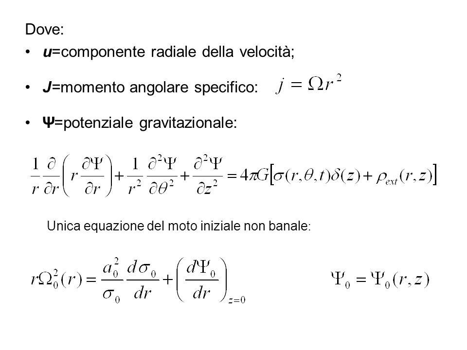 u=componente radiale della velocità; J=momento angolare specifico: