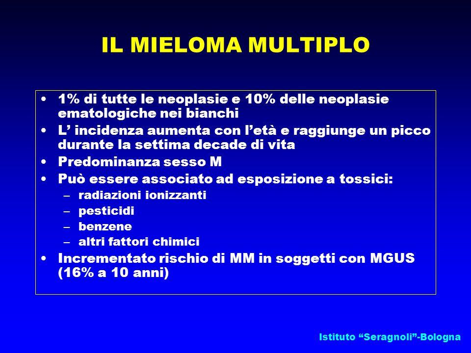 IL MIELOMA MULTIPLO 1% di tutte le neoplasie e 10% delle neoplasie ematologiche nei bianchi.