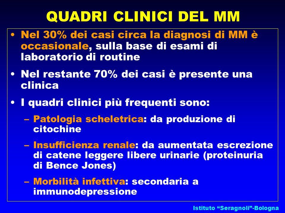 QUADRI CLINICI DEL MM Nel 30% dei casi circa la diagnosi di MM è occasionale, sulla base di esami di laboratorio di routine.