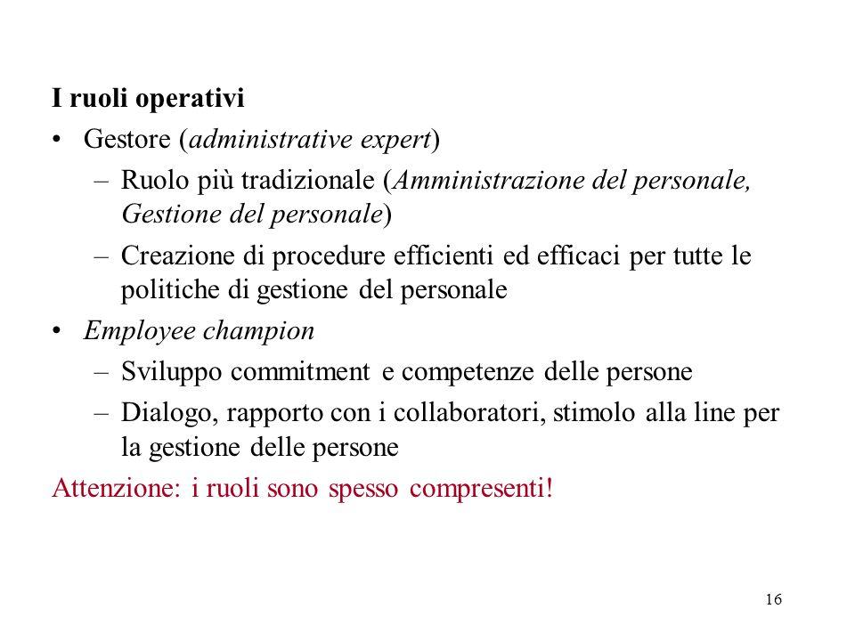 I ruoli operativi Gestore (administrative expert) Ruolo più tradizionale (Amministrazione del personale, Gestione del personale)