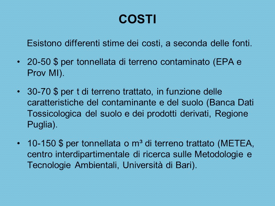 COSTI Esistono differenti stime dei costi, a seconda delle fonti.