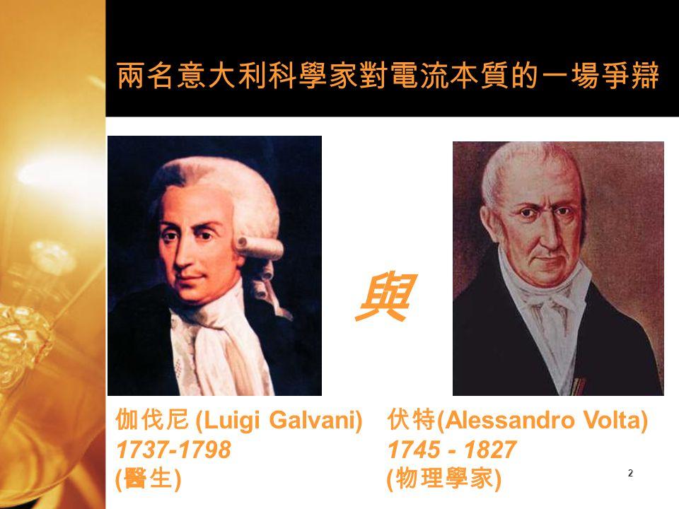 與 兩名意大利科學家對電流本質的一場爭辯 伽伐尼 (Luigi Galvani) 1737-1798 (醫生)
