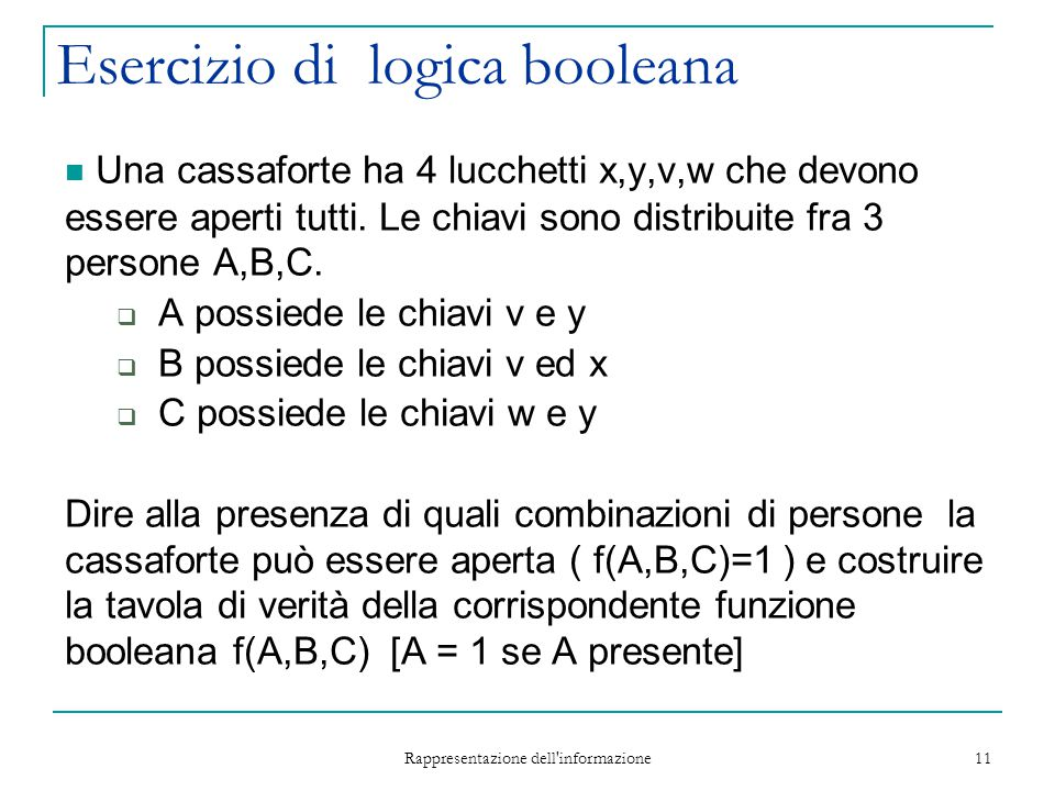 Esercizio di logica booleana