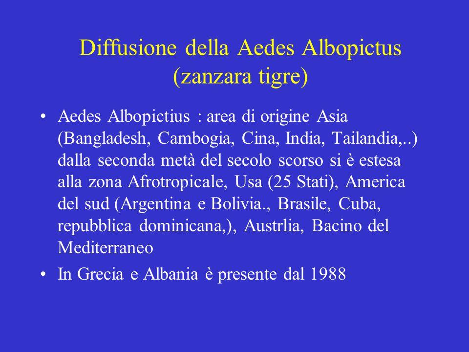 Diffusione della Aedes Albopictus (zanzara tigre)