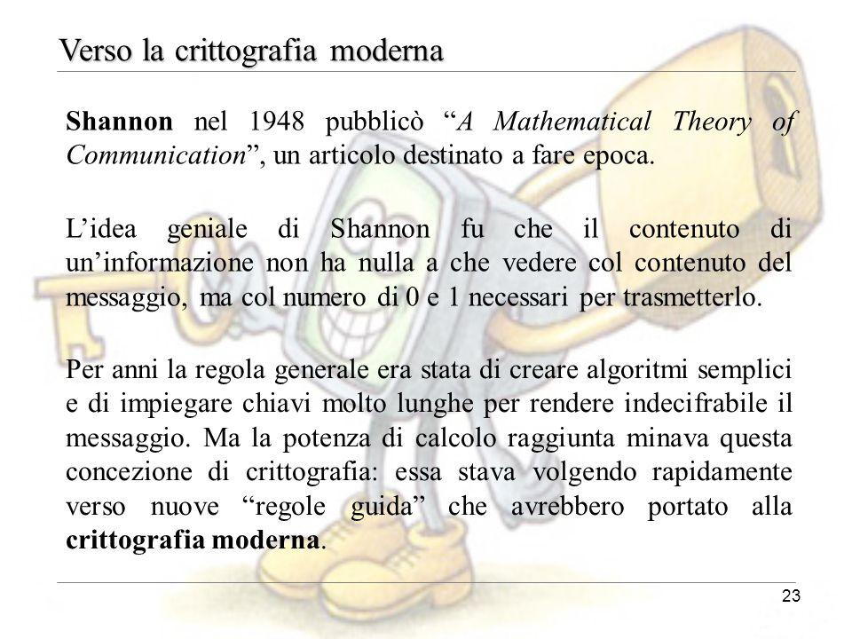 Verso la crittografia moderna