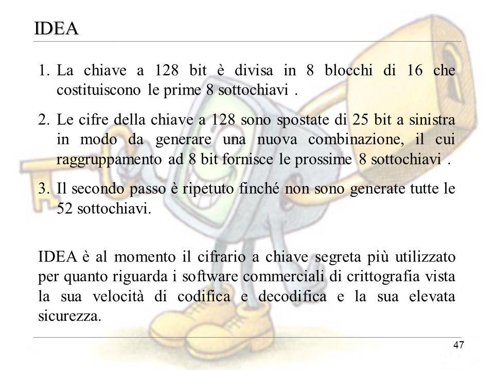 IDEA La chiave a 128 bit è divisa in 8 blocchi di 16 che costituiscono le prime 8 sottochiavi .