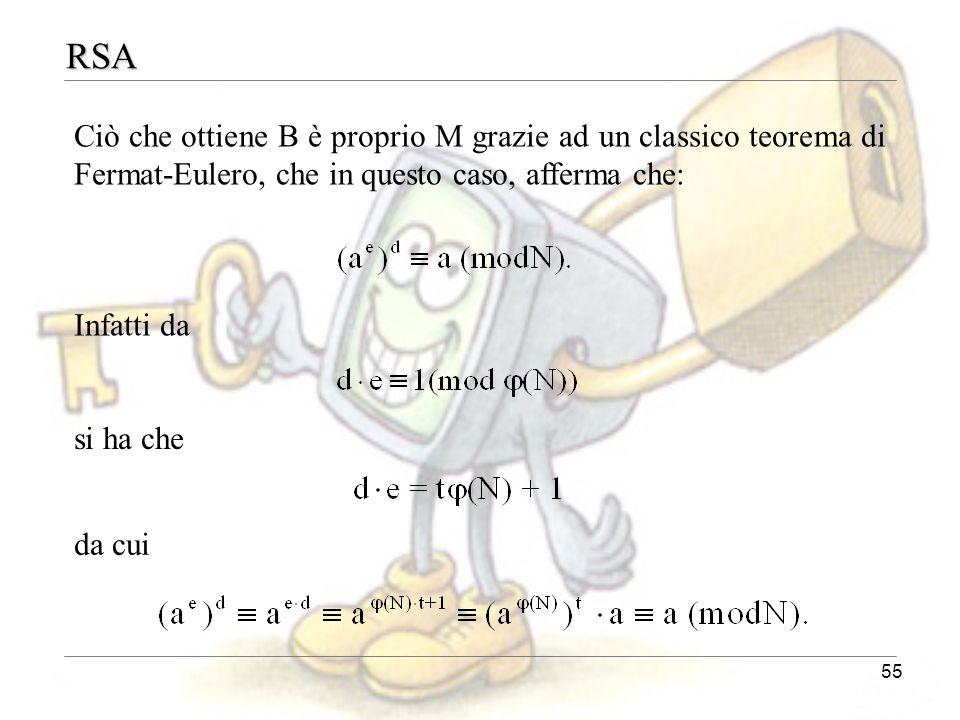 RSA Ciò che ottiene B è proprio M grazie ad un classico teorema di Fermat-Eulero, che in questo caso, afferma che: