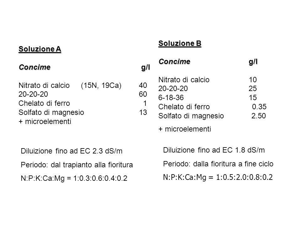 Soluzione B Concime g/l. Nitrato di calcio 10. 20-20-20 25. 6-18-36 15. Chelato di ferro 0.35.