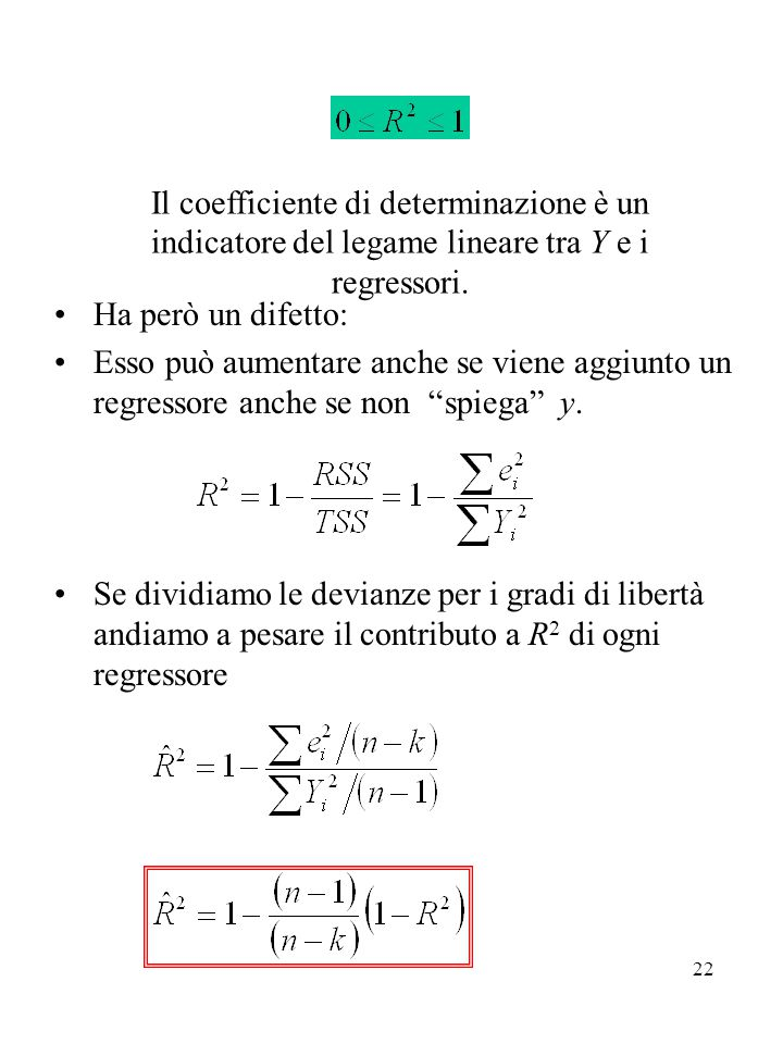 Il coefficiente di determinazione è un indicatore del legame lineare tra Y e i regressori.