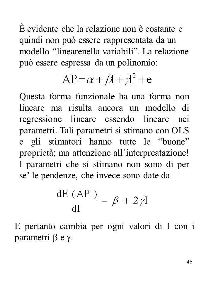 È evidente che la relazione non è costante e quindi non può essere rappresentata da un modello linearenella variabili . La relazione può essere espressa da un polinomio: