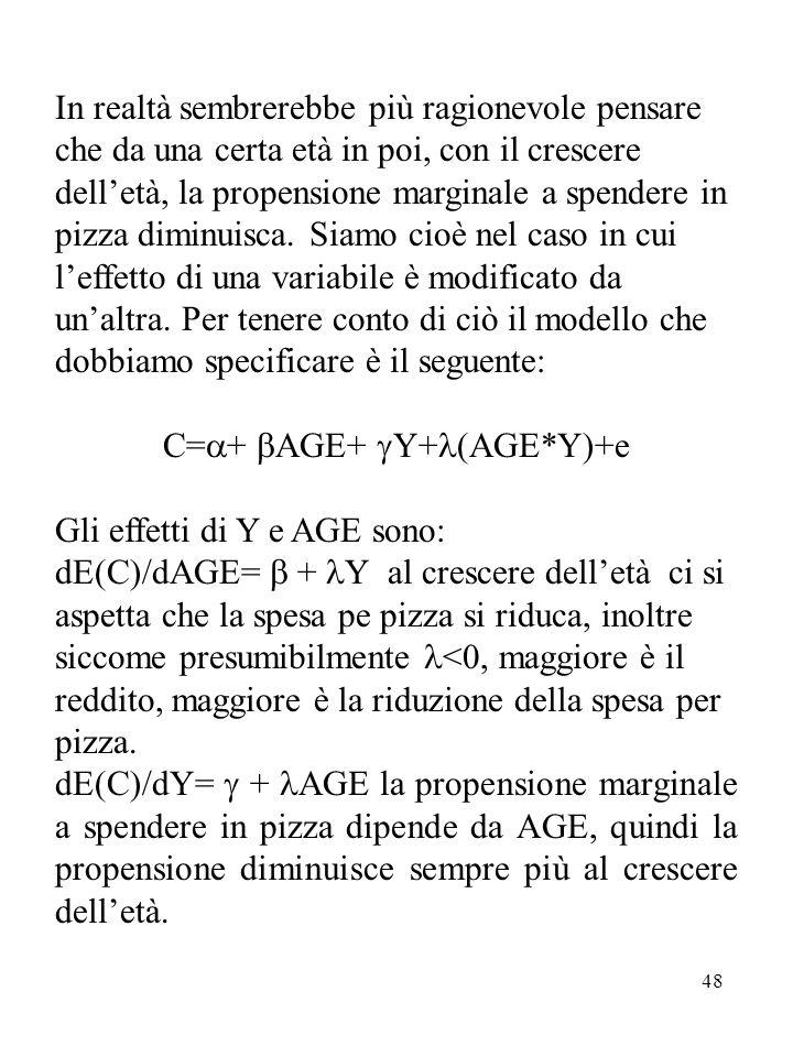 C=+ AGE+ Y+(AGE*Y)+e
