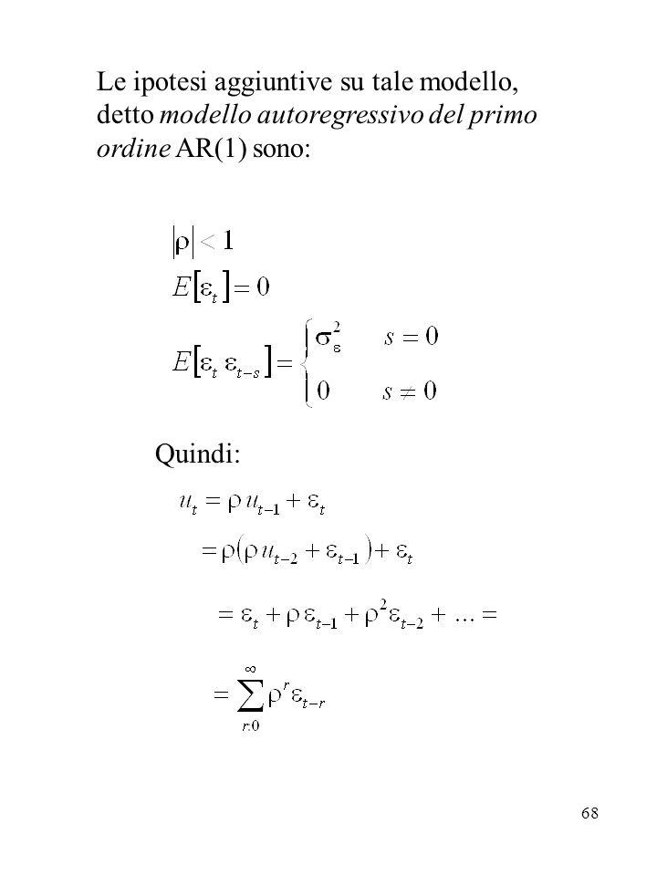 Le ipotesi aggiuntive su tale modello, detto modello autoregressivo del primo ordine AR(1) sono: