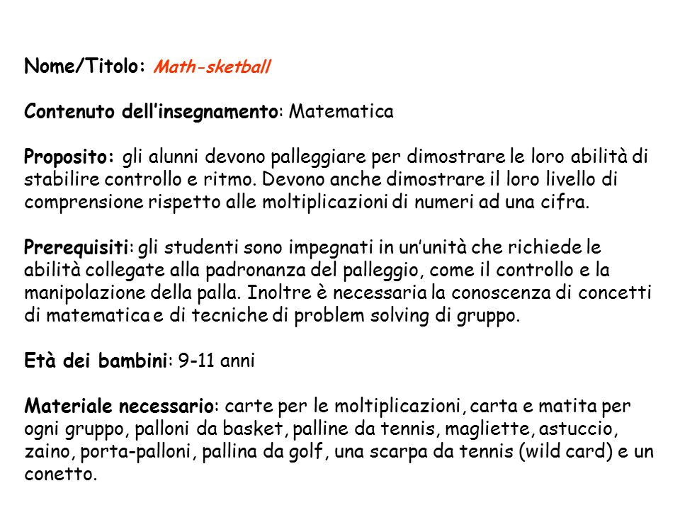 Nome/Titolo: Math-sketball