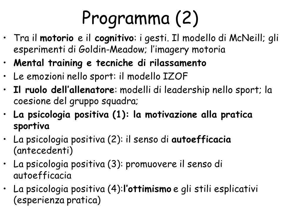 Programma (2) Tra il motorio e il cognitivo: i gesti. Il modello di McNeill; gli esperimenti di Goldin-Meadow; l'imagery motoria.