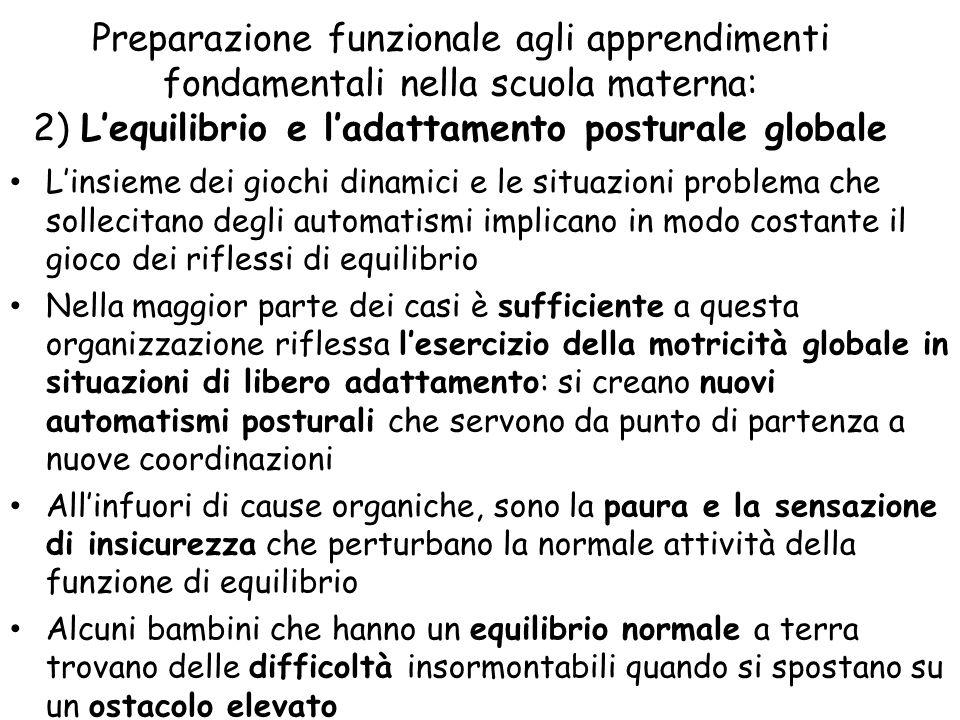 Preparazione funzionale agli apprendimenti fondamentali nella scuola materna: 2) L'equilibrio e l'adattamento posturale globale