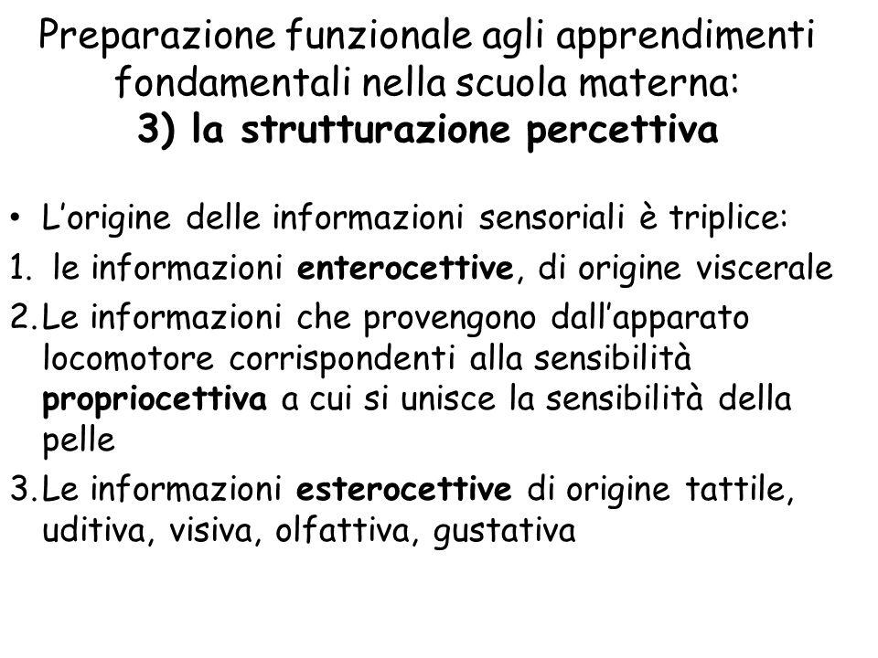 Preparazione funzionale agli apprendimenti fondamentali nella scuola materna: 3) la strutturazione percettiva