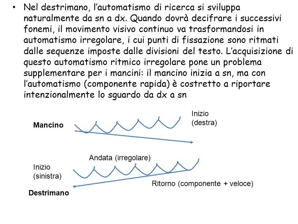 Nel destrimano, l'automatismo di ricerca si sviluppa naturalmente da sn a dx. Quando dovrà decifrare i successivi fonemi, il movimento visivo continuo va trasformandosi in automatismo irregolare, i cui punti di fissazione sono ritmati dalle sequenze imposte dalle divisioni del testo. L'acquisizione di questo automatismo ritmico irregolare pone un problema supplementare per i mancini: il mancino inizia a sn, ma con l'automatismo (componente rapida) è costretto a riportare intenzionalmente lo sguardo da dx a sn