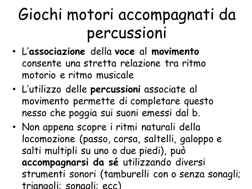 Giochi motori accompagnati da percussioni
