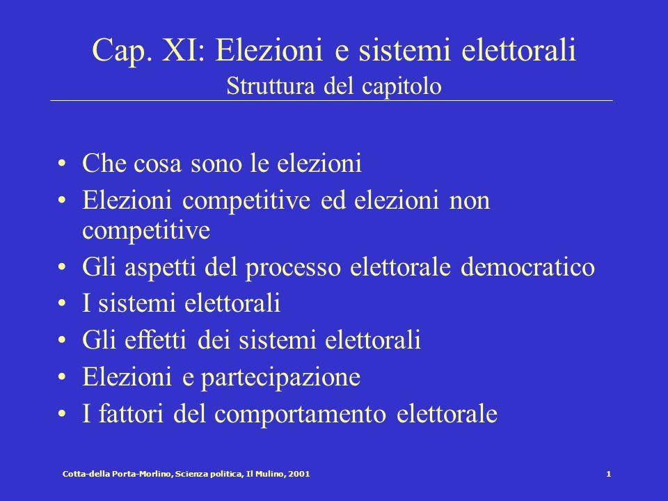 Cap. XI: Elezioni e sistemi elettorali Struttura del capitolo