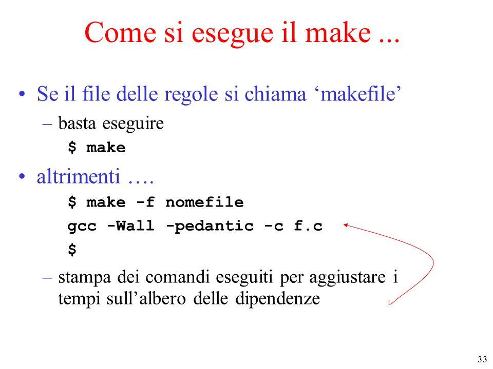 Come si esegue il make ... Se il file delle regole si chiama 'makefile' basta eseguire. $ make. altrimenti ….
