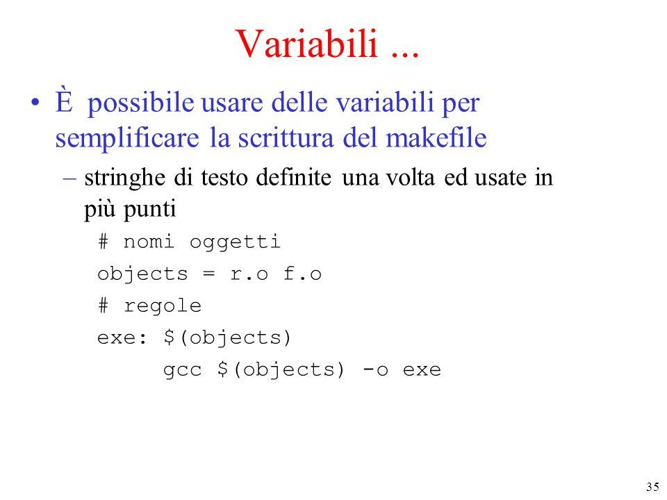 Variabili ... È possibile usare delle variabili per semplificare la scrittura del makefile.
