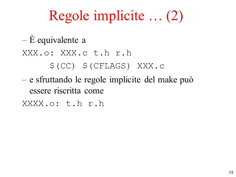 Regole implicite … (2) È equivalente a XXX.o: XXX.c t.h r.h