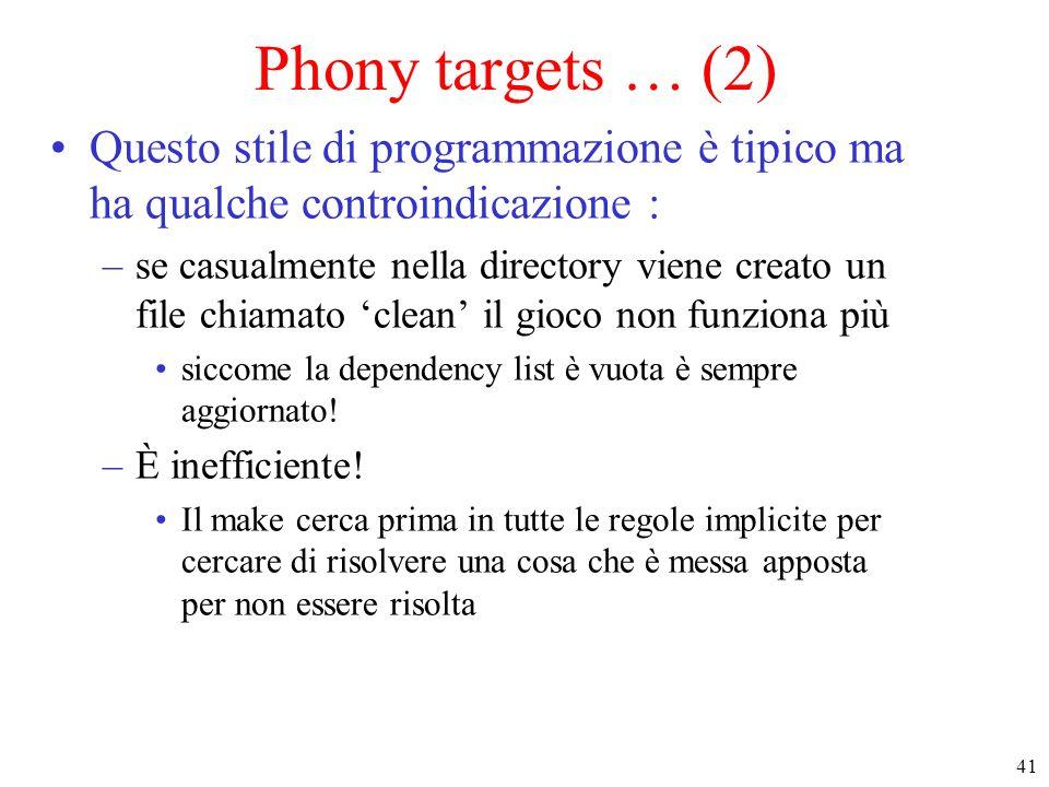 Phony targets … (2) Questo stile di programmazione è tipico ma ha qualche controindicazione :
