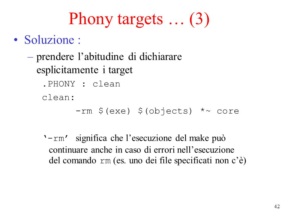 Phony targets … (3) Soluzione :