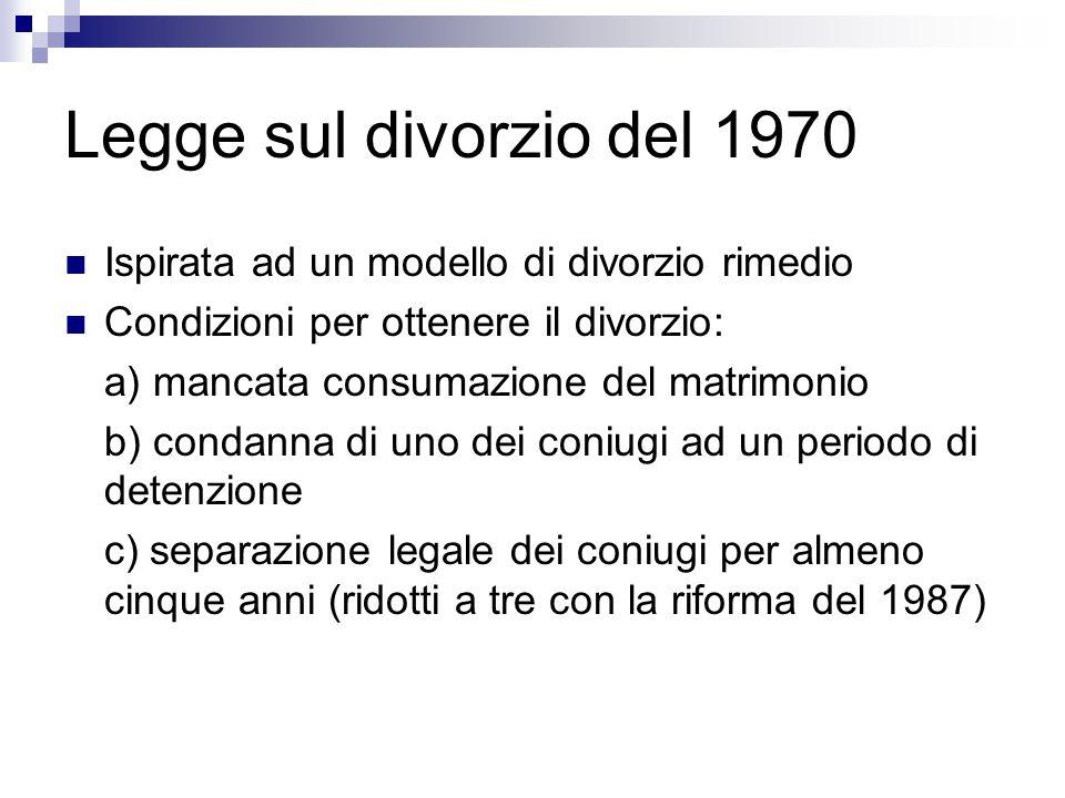 Legge sul divorzio del 1970 Ispirata ad un modello di divorzio rimedio
