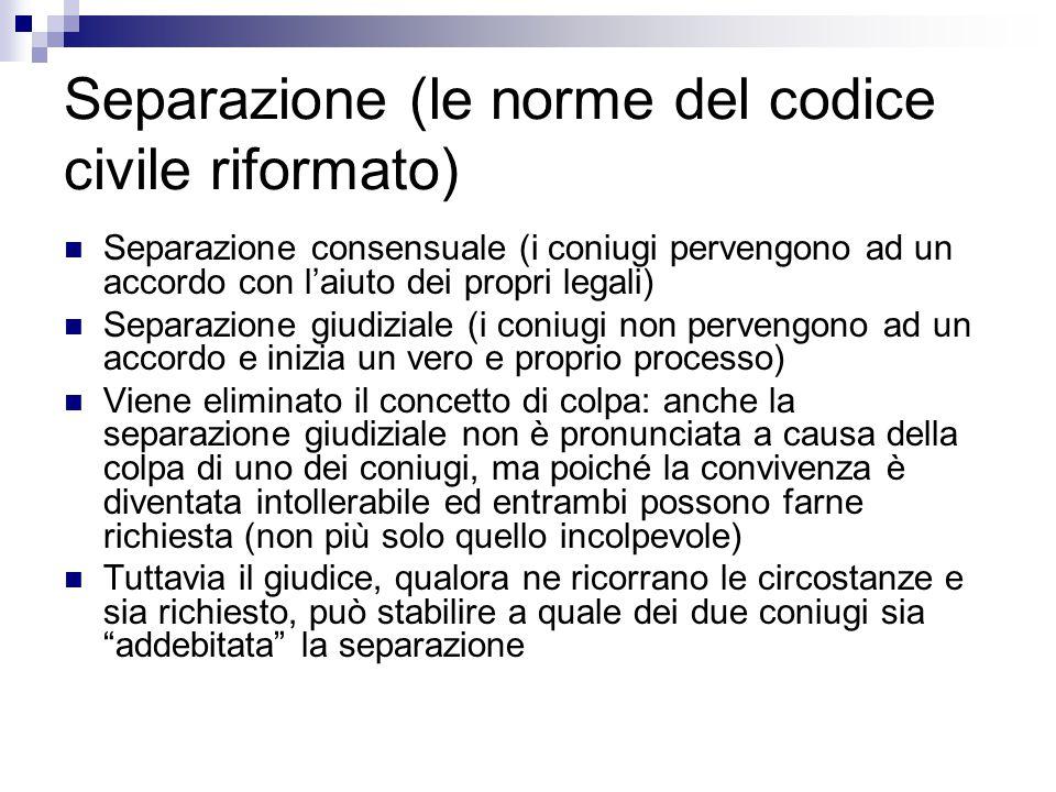 Separazione (le norme del codice civile riformato)