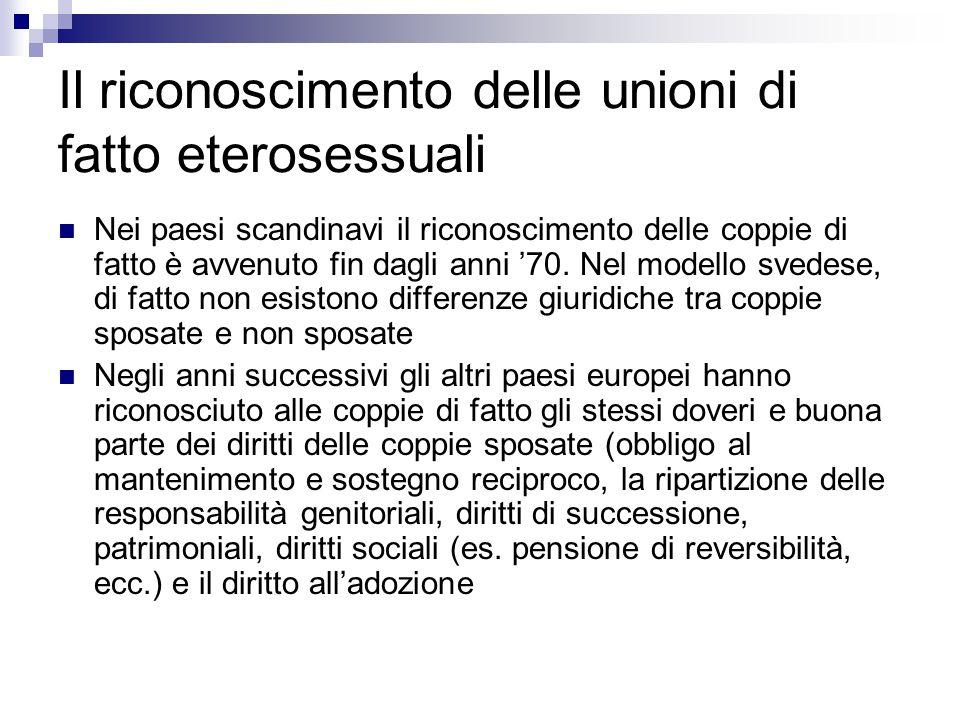 Il riconoscimento delle unioni di fatto eterosessuali