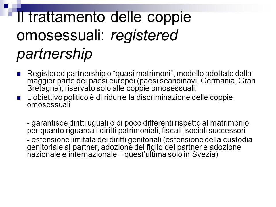 Il trattamento delle coppie omosessuali: registered partnership