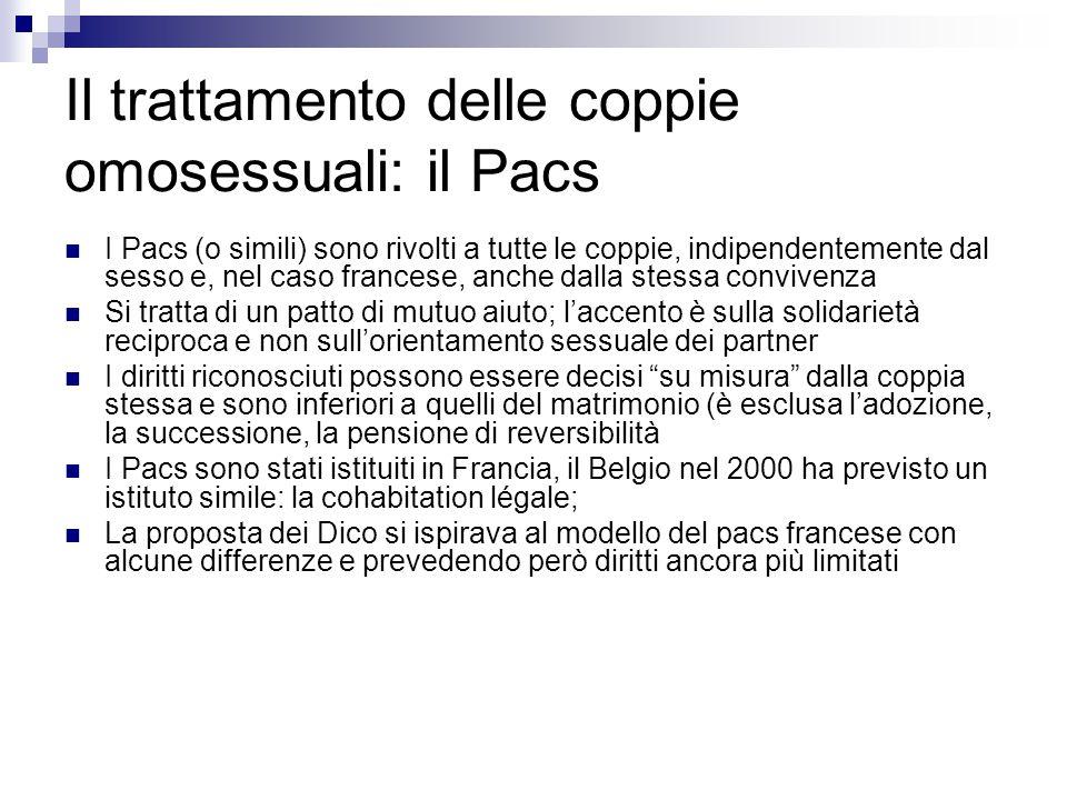 Il trattamento delle coppie omosessuali: il Pacs
