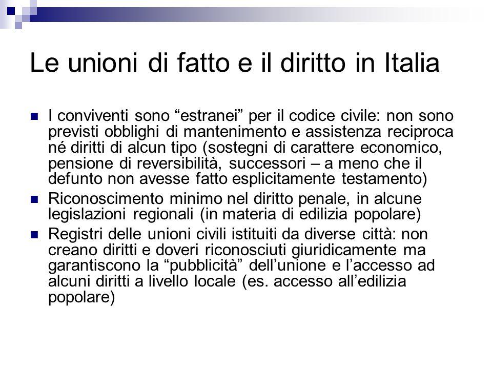Le unioni di fatto e il diritto in Italia