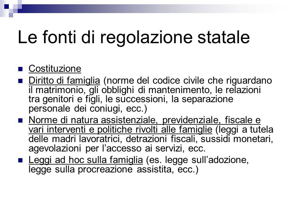 Le fonti di regolazione statale