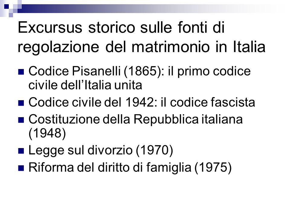 Excursus storico sulle fonti di regolazione del matrimonio in Italia