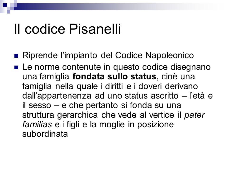 Il codice Pisanelli Riprende l'impianto del Codice Napoleonico