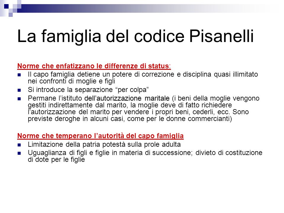 La famiglia del codice Pisanelli
