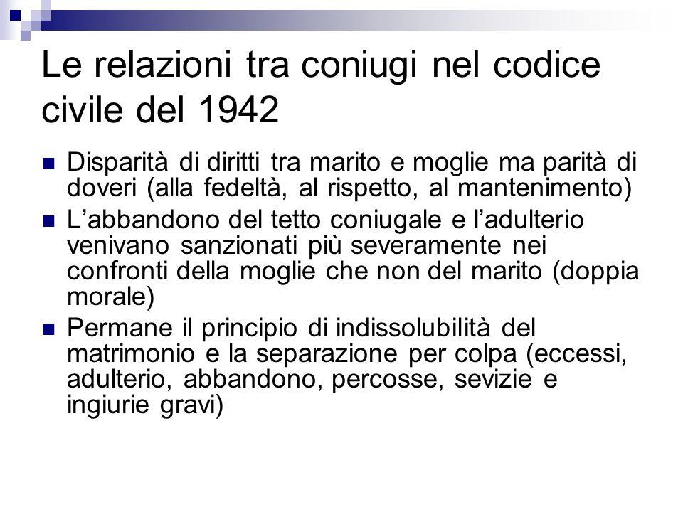 Le relazioni tra coniugi nel codice civile del 1942
