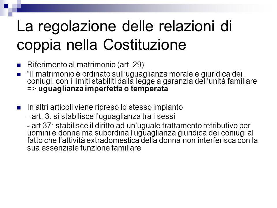 La regolazione delle relazioni di coppia nella Costituzione