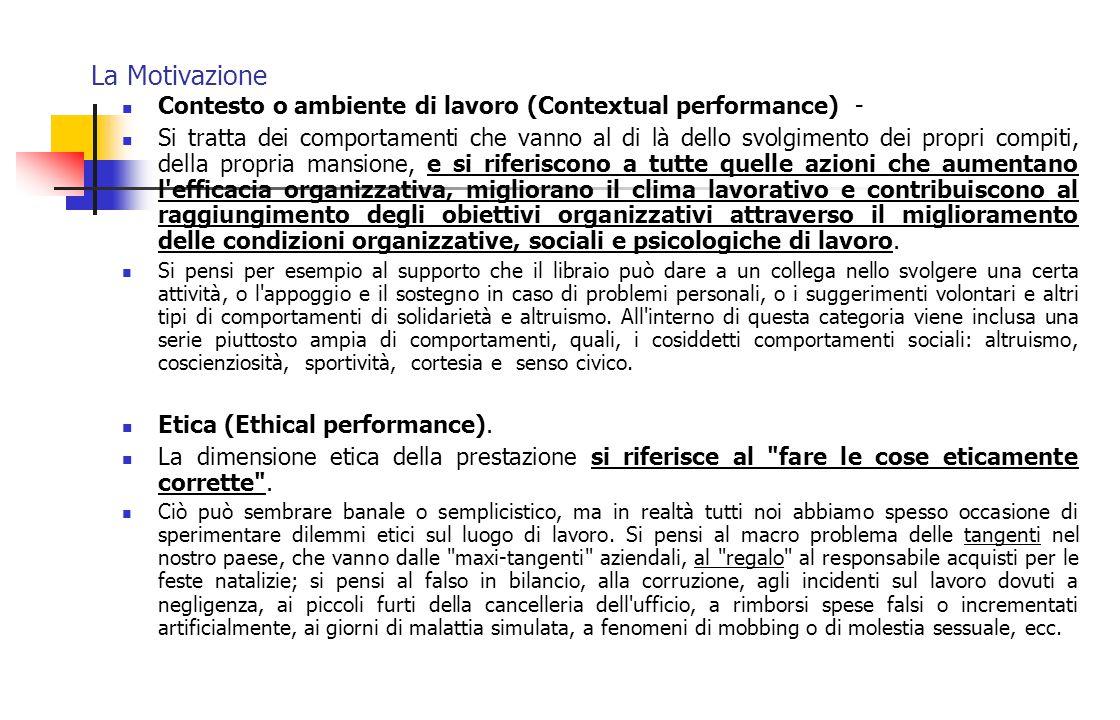 La Motivazione Contesto o ambiente di lavoro (Contextual performance) -