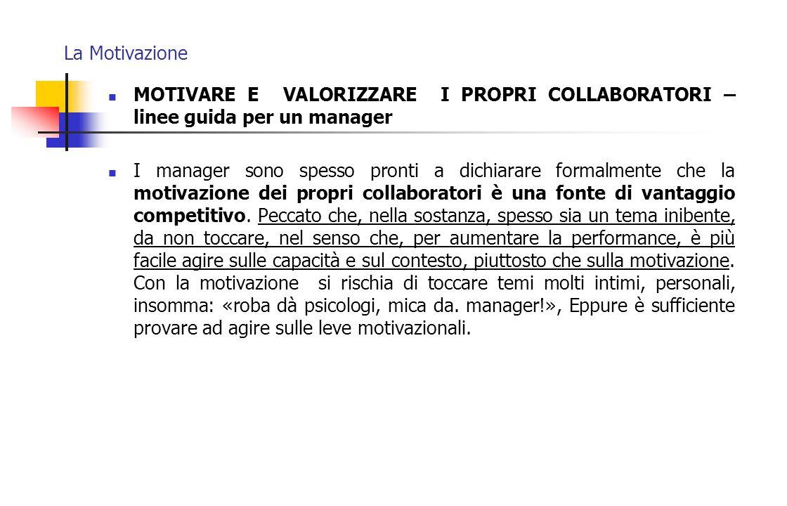 La Motivazione MOTIVARE E VALORIZZARE I PROPRI COLLABORATORI – linee guida per un manager.