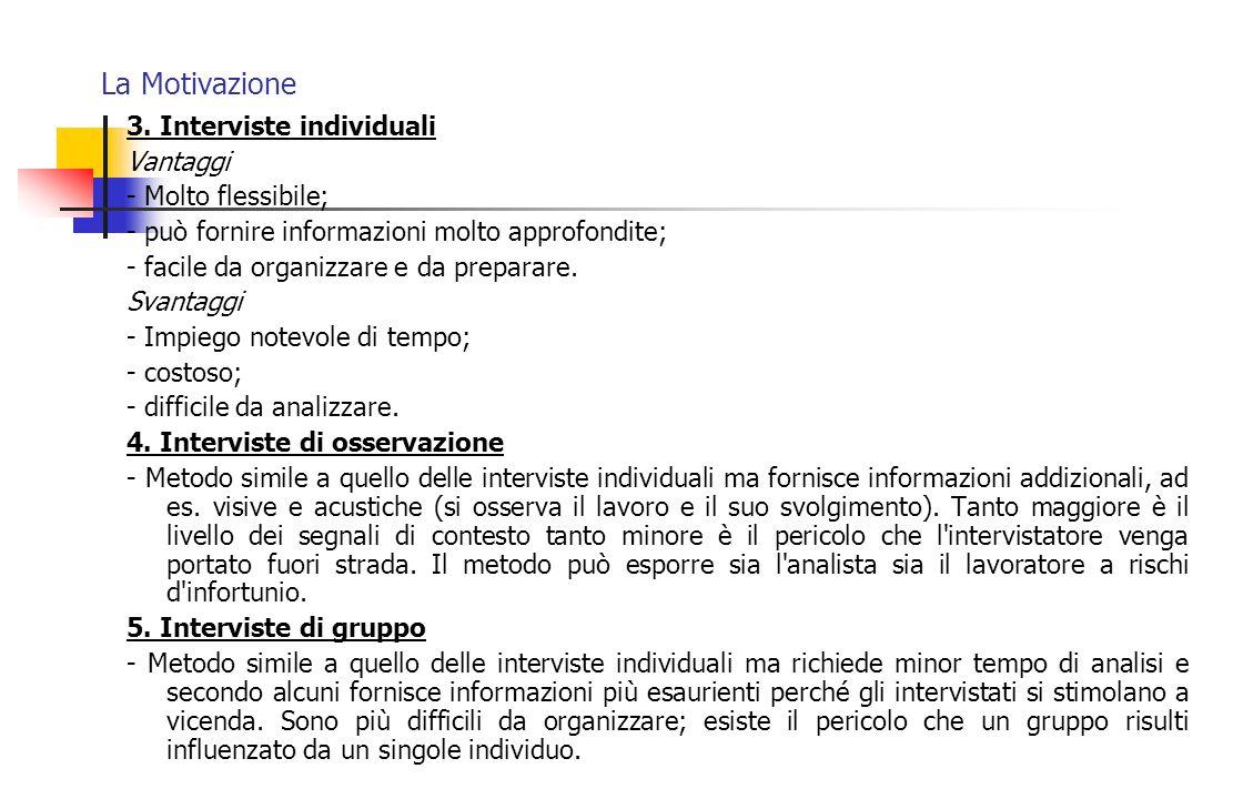 La Motivazione 3. Interviste individuali Vantaggi - Molto flessibile;